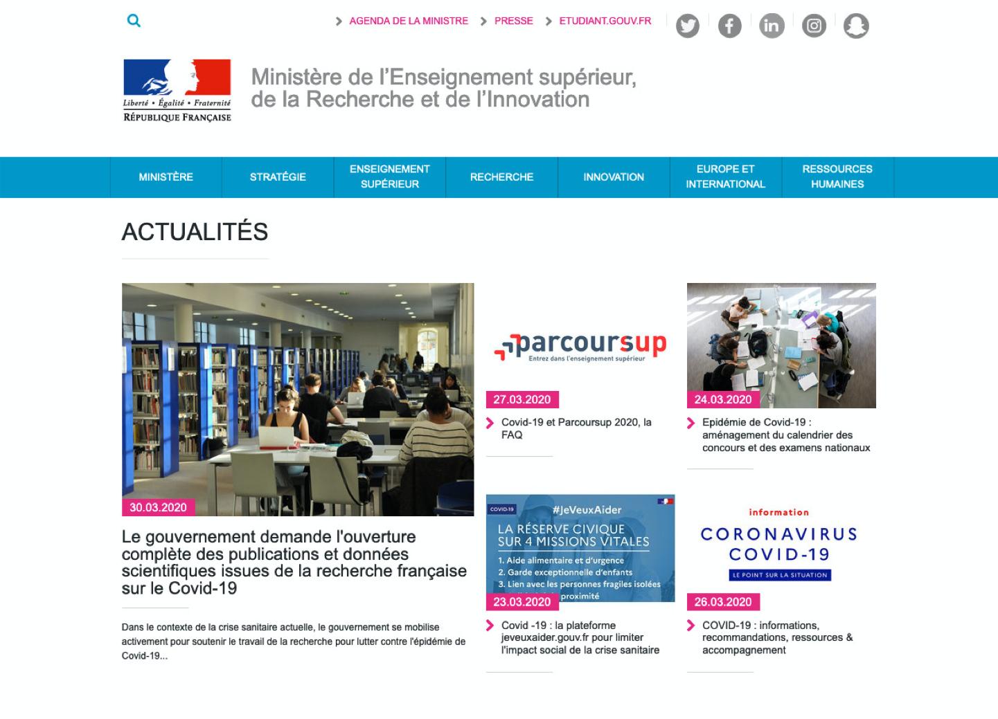 illustration Le gouvernement français demande l'ouverture des publications et des données de la recherche liées à l'épidémie de Covid-19